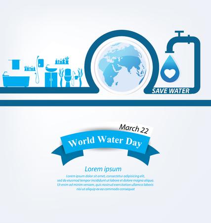 Ahorra agua. Concepto del Día Mundial del Agua. Ilustración del vector.