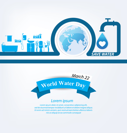 water conservation: Save water. World Water Day concept. Vector illustration.