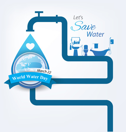 water droplets: Save water. World Water Day concept. Vector illustration.