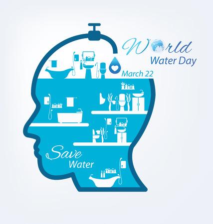 ahorrar agua: Ahorra agua. Concepto del Día Mundial del Agua. Ilustración del vector.