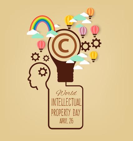 Giornata Mondiale della Proprietà Intellettuale. illustrazione vettoriale.