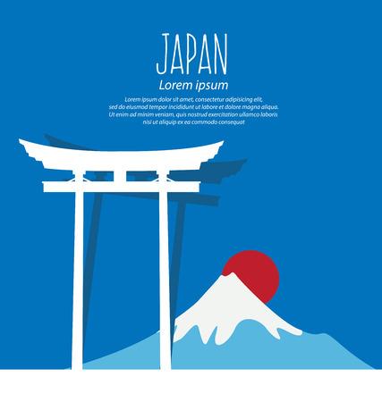 gate Torii, Mount Fuji, Japan, Travel and tourism concept vector Illustration