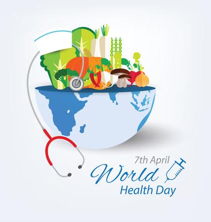 世界健康日コンセプト。ベクトルの図。