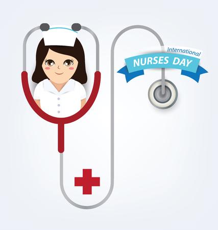physical exam: International nurse day concept Illustration