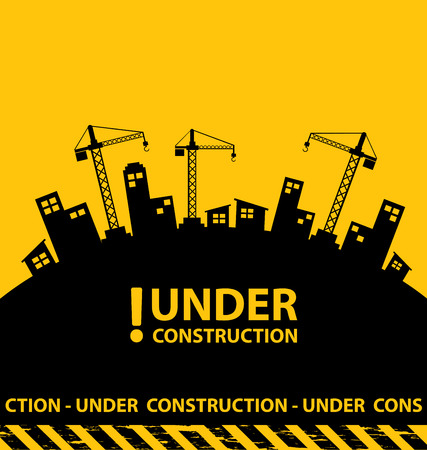 blank signs: under construction background vector illustration