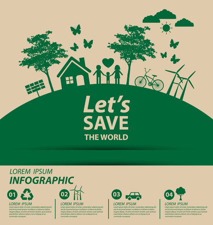planeta tierra feliz: Concepto de la ecología. guardar la ilustración vectorial mundo.