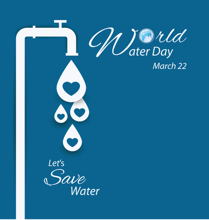 preserve: Save water. World Water Day concept. Vector illustration.