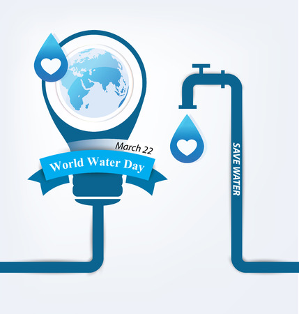 environmental awareness: Save water. World Water Day concept. Vector illustration.