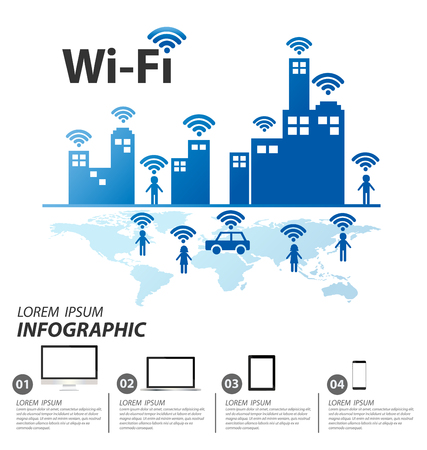 Wifi , Vector internet and network infographic concept Çizim