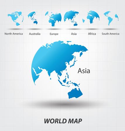 Mapa del Mundo vector Ilustración Vectores