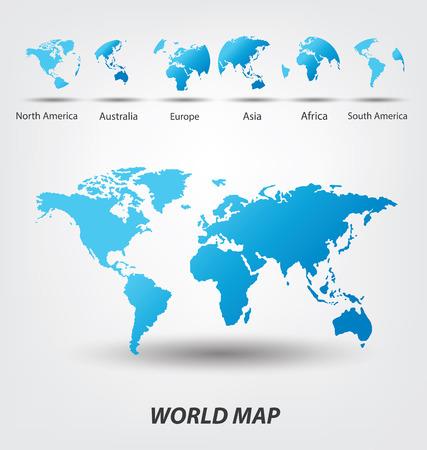 south  america: Mapa del Mundo vector Ilustración Vectores