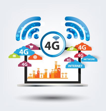 4G concept. vector illustration. Stock Illustratie