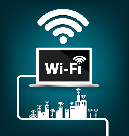 Wifi , internet and network concept. vector illustration. Çizim