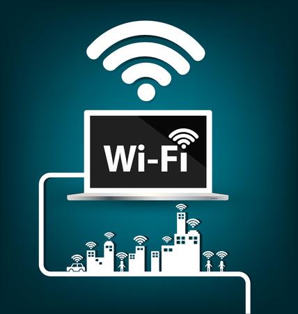 Wifi, internet e conceito da rede. ilustração do vetor. Ilustração