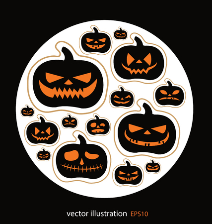 grinning: Set pumpkins. Halloween vector illustration. Illustration