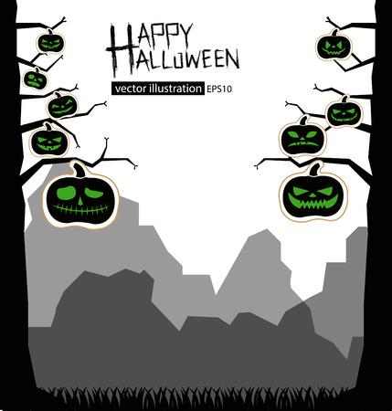 smilling: Tree design. Halloween illustration.