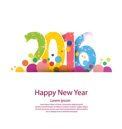 decorative card symbols: Happy new year 2016 Illustration