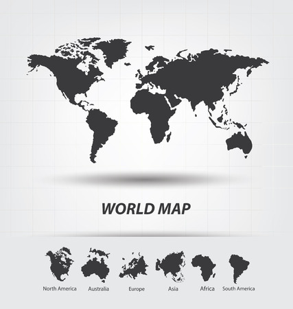 silhouette america: World Map vector Illustration Illustration