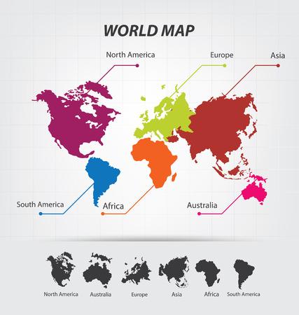 mapa de europa: Mapa del Mundo vector Ilustración Vectores