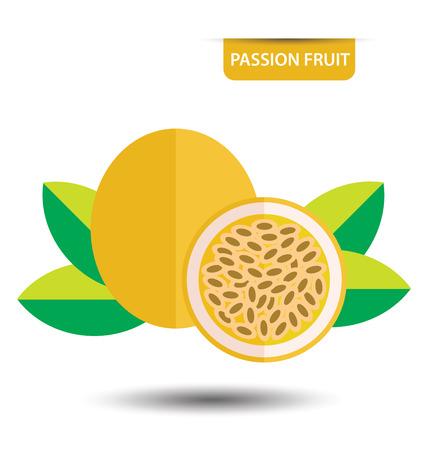 symbolics: Passion fruit, fruit vector illustration