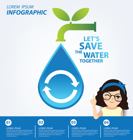 recycling campaign: Water recycling. Save water concept. Infographic template. Vector illustration. Illustration