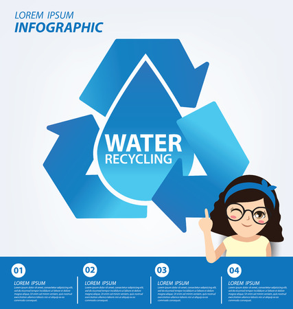 water concept: Water recycling. Save water concept. Infographic template. Vector illustration. Illustration