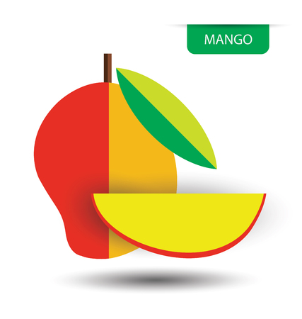 sliced: mango, fruit vector illustration Illustration