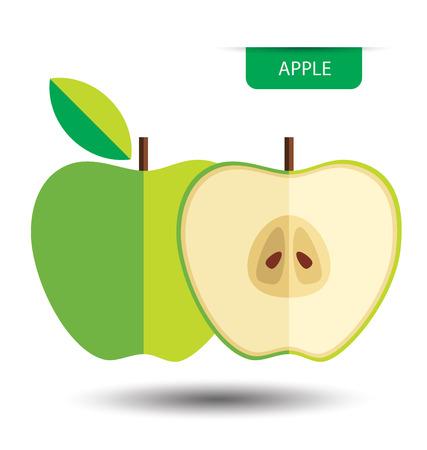 Green apple, fruit vector illustration