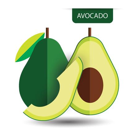 Avocado, illustrazione frutta vettore Vettoriali