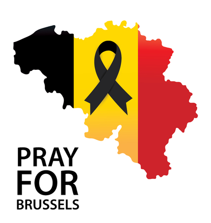 Pray for Brussels. Terrorist attack in Brussels. Mourning. Vector illustration. Illustration