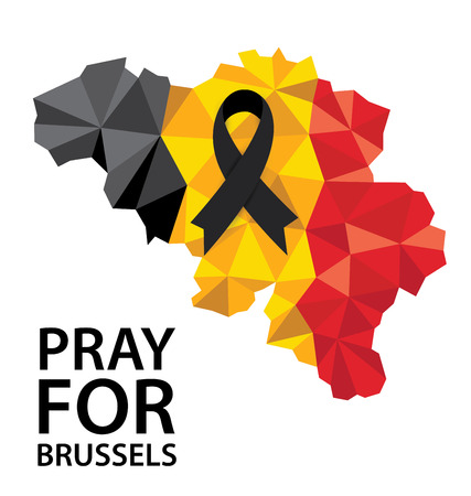 brussels: Pray for Brussels. Terrorist attack in Brussels. Mourning. Vector illustration. Illustration