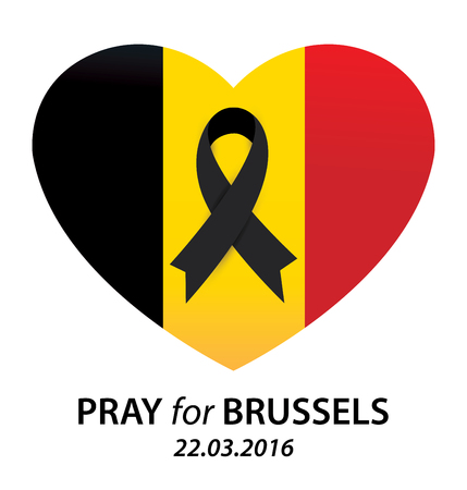 killed: Pray for Brussels. Terrorist attack in Brussels. Mourning. Vector illustration. Illustration