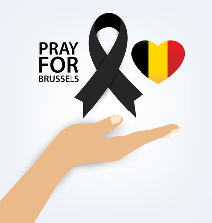 mourning: Pray for Brussels. Terrorist attack in Brussels. Mourning. Vector illustration. Illustration