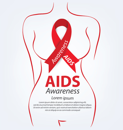 alert ribbon: Aids Awareness. World Aids Day concept. Vector illustration. Illustration