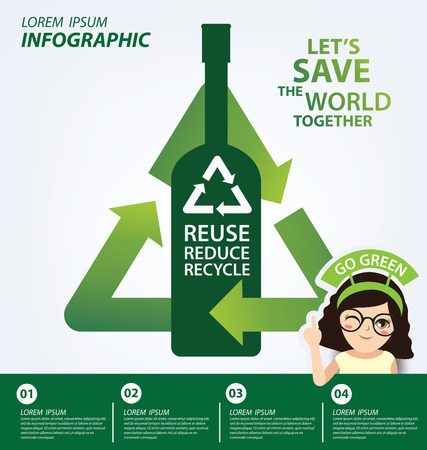 reduce: Infographic template. Reuse, Reduce, Recycle concept. Save world vector illustration. Illustration
