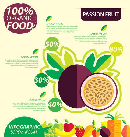 passion: Passion fruit. Infographic template. vector illustration.