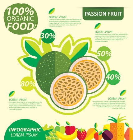 passion fruit: Passion fruit. Infographic template. vector illustration.