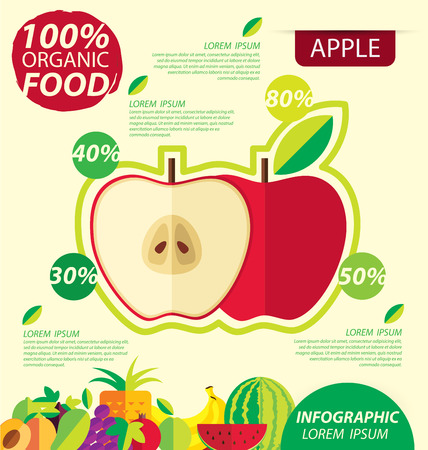 benefit: Red apple. Infographic template. vector illustration. Illustration