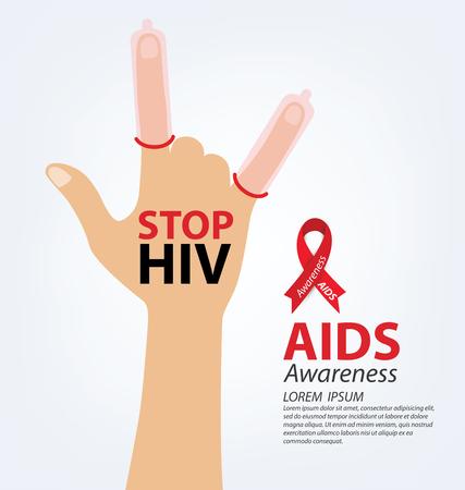 alert ribbon: Aids Awareness. Vector illustration. Illustration