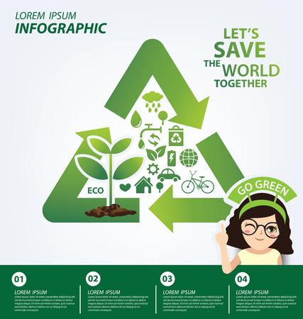 sustentabilidad: plantilla de infograf�a. La reutilizaci�n, reduce, el concepto de reciclaje. Guarde la ilustraci�n del vector del mundo.