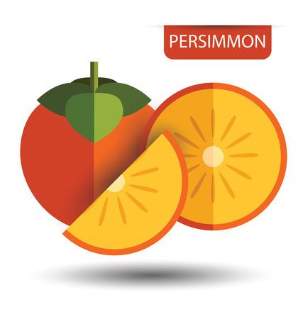 persimmon: Persimmon, fruit vector illustration