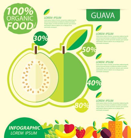 guayaba: Guayaba. plantilla de infografía. ilustración vectorial.