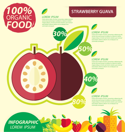 guava fruit: Strawberry guava. Infographic template. vector illustration.