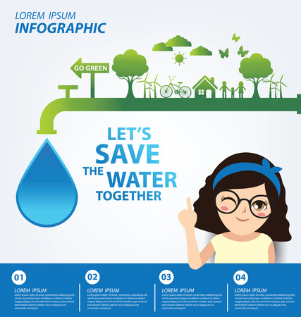 water concept: Save water concept. Infographic template. Vector illustration.