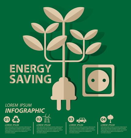 El ahorro de energía concepto. Guarde la ilustración del vector del mundo.