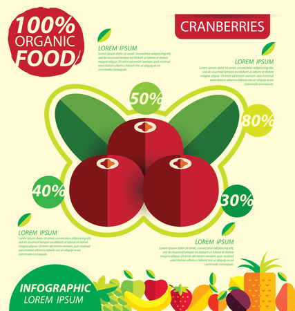 foxberry: Cranberries. Infographic template. vector illustration. Illustration