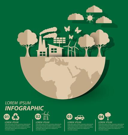 Concetto di ecologia. Risparmiare illustrazione vettoriale mondo.