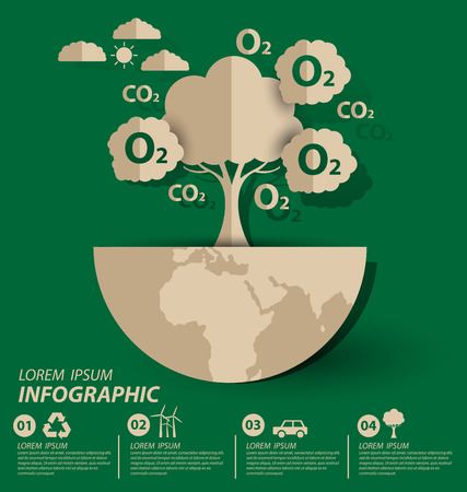 Oxygène. Concept écologique. Sauvegarder l'illustration vectorielle mondiale.