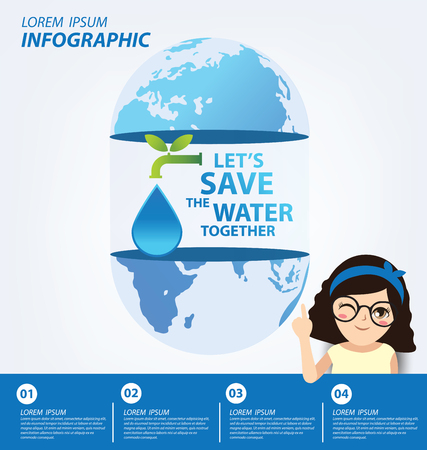recycling campaign: Save water concept. Infographic template. Vector illustration.