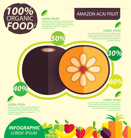 amazon: Flacourtia, Amazon acai fruit. Infographic template. vector illustration. Illustration